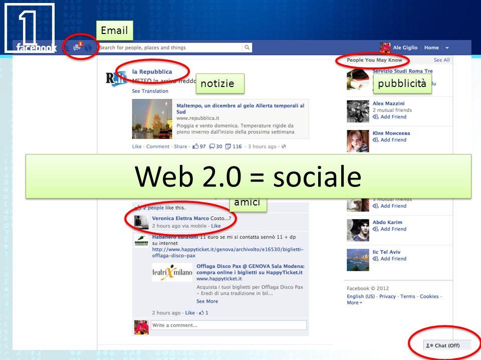 Email notizie pubblicità Web 2.0 = sociale amici