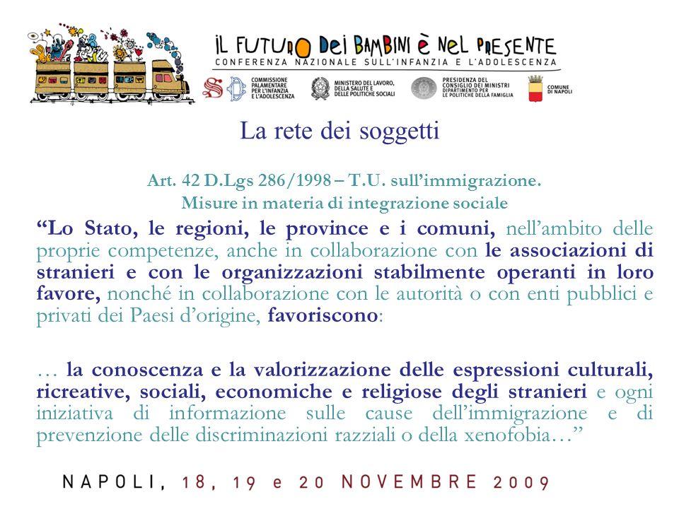 La rete dei soggetti Art. 42 D.Lgs 286/1998 – T.U. sull'immigrazione. Misure in materia di integrazione sociale.