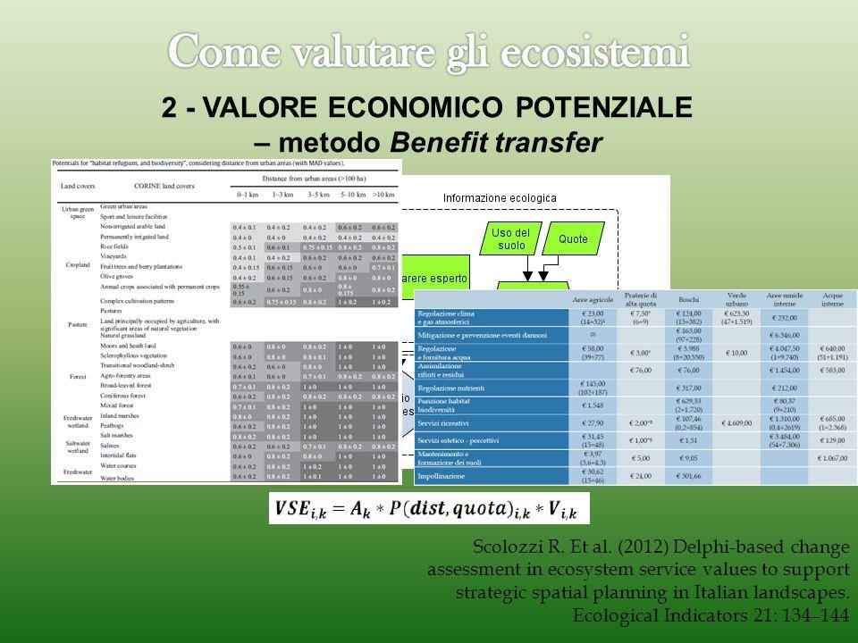 2 - VALORE ECONOMICO POTENZIALE – metodo Benefit transfer