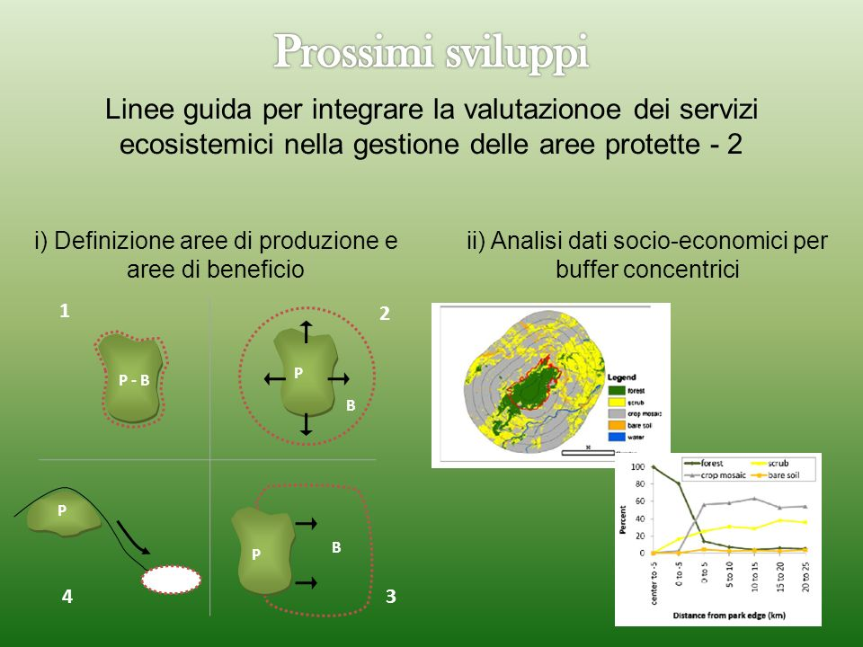 Prossimi sviluppi Linee guida per integrare la valutazionoe dei servizi ecosistemici nella gestione delle aree protette - 2.