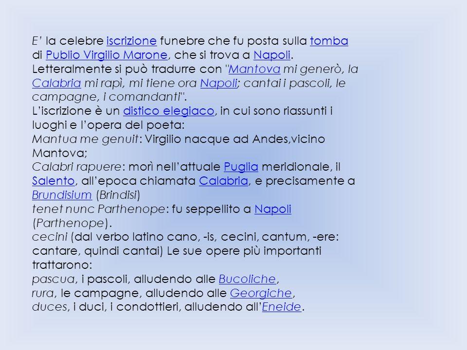 E' la celebre iscrizione funebre che fu posta sulla tomba di Publio Virgilio Marone, che si trova a Napoli.