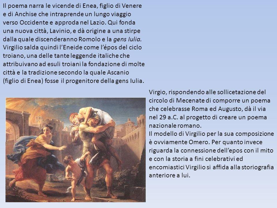 Il poema narra le vicende di Enea, figlio di Venere e di Anchise che intraprende un lungo viaggio verso Occidente e approda nel Lazio. Qui fonda una nuova città, Lavinio, e dà origine a una stirpe dalla quale discenderanno Romolo e la gens Iulia.
