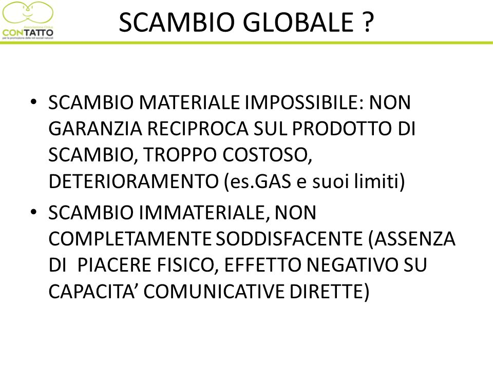 SCAMBIO GLOBALE