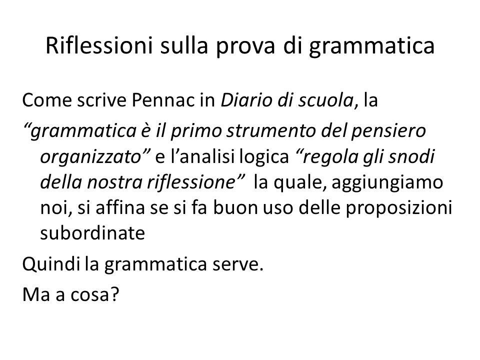 Riflessioni sulla prova di grammatica