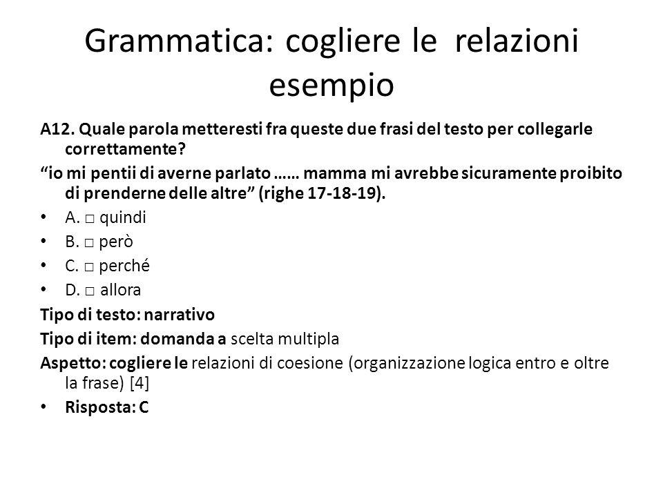 Grammatica: cogliere le relazioni esempio