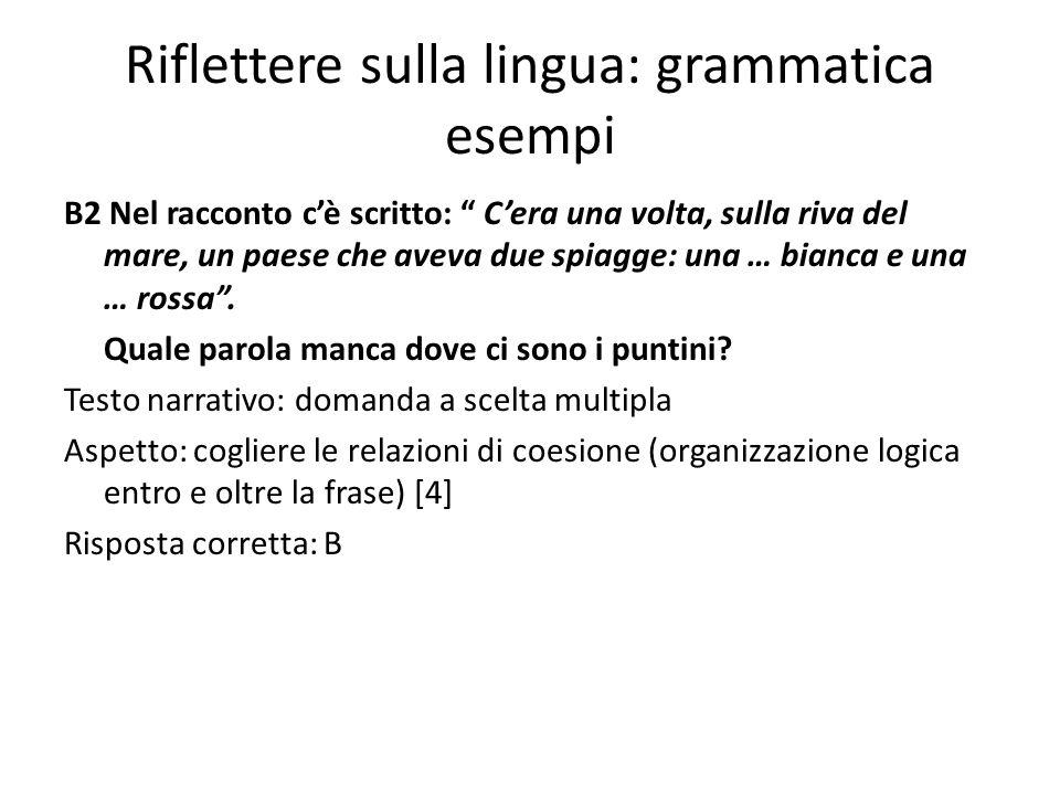Riflettere sulla lingua: grammatica esempi