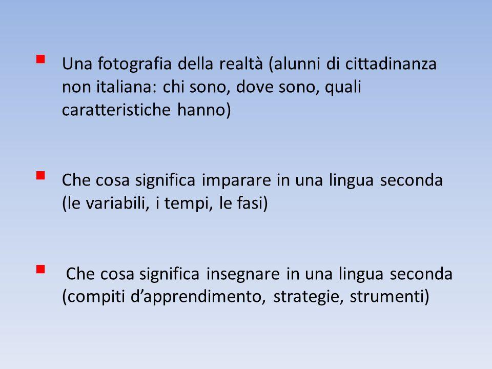 Una fotografia della realtà (alunni di cittadinanza non italiana: chi sono, dove sono, quali caratteristiche hanno)