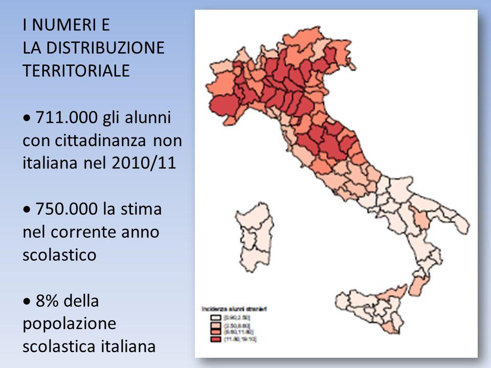 I NUMERI E LA DISTRIBUZIONE. TERRITORIALE. 711.000 gli alunni con cittadinanza non italiana nel 2010/11.