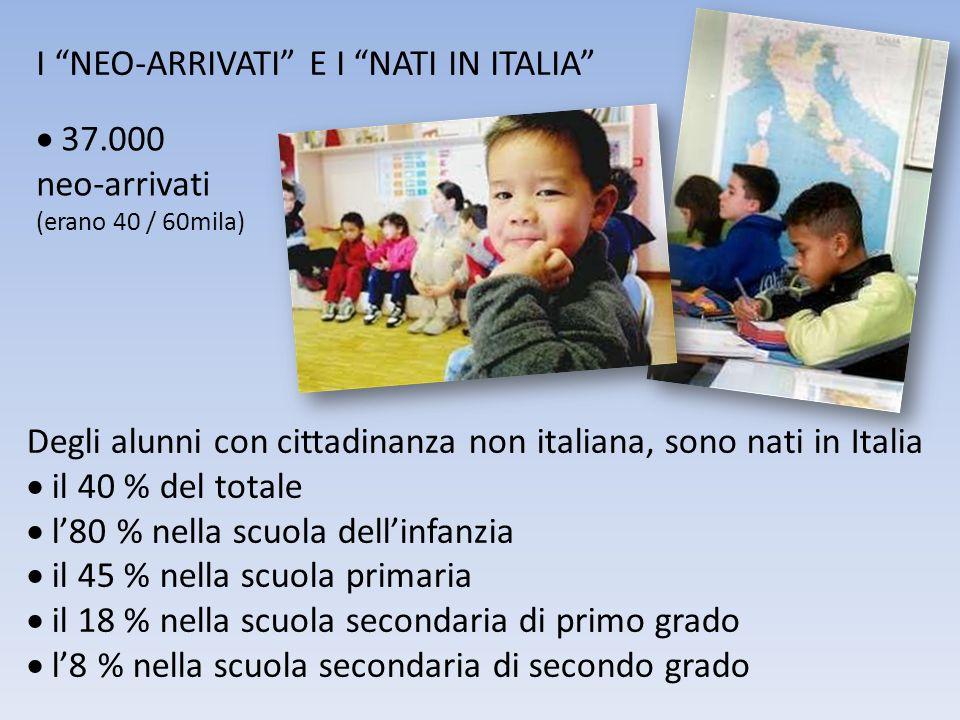 I NEO-ARRIVATI E I NATI IN ITALIA