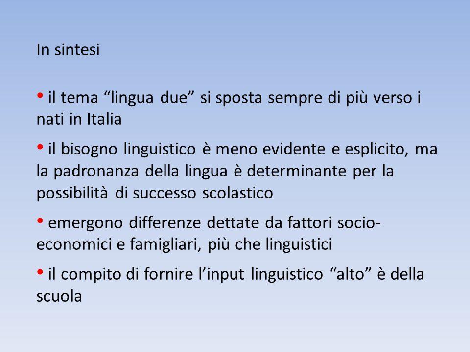 In sintesi il tema lingua due si sposta sempre di più verso i nati in Italia.