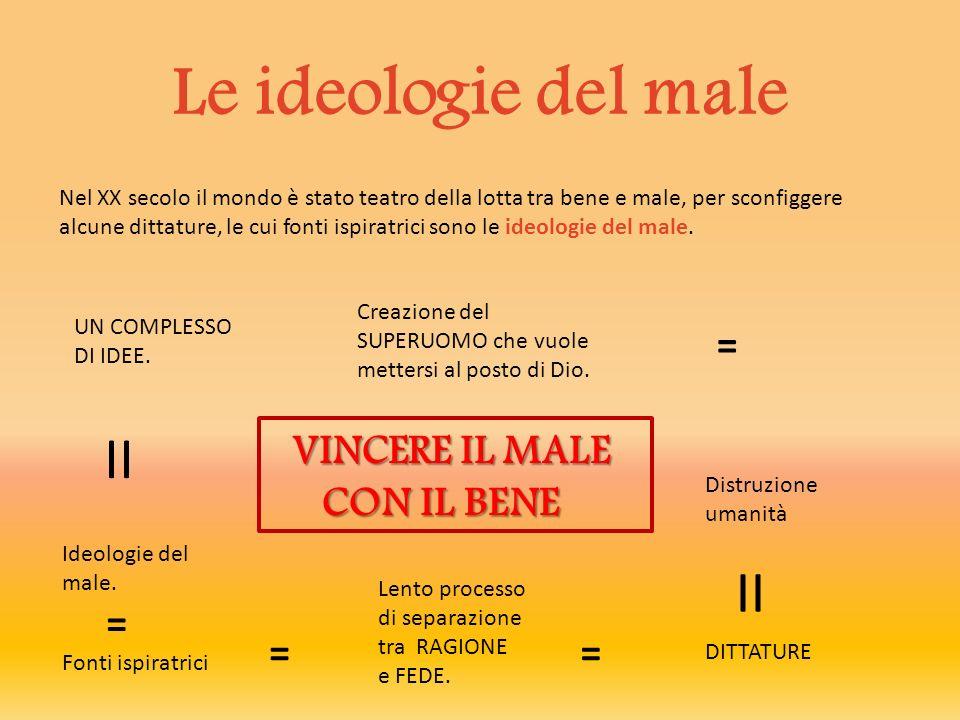 Le ideologie del male II II = VINCERE IL MALE CON IL BENE = =