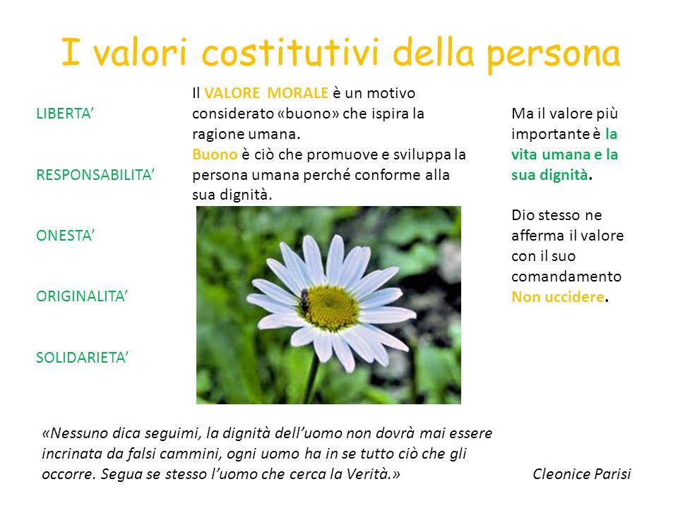 I valori costitutivi della persona