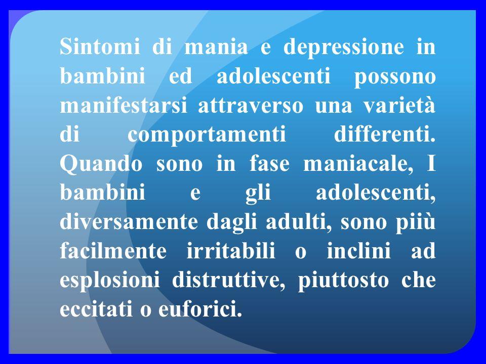 Sintomi di mania e depressione in bambini ed adolescenti possono manifestarsi attraverso una varietà di comportamenti differenti.