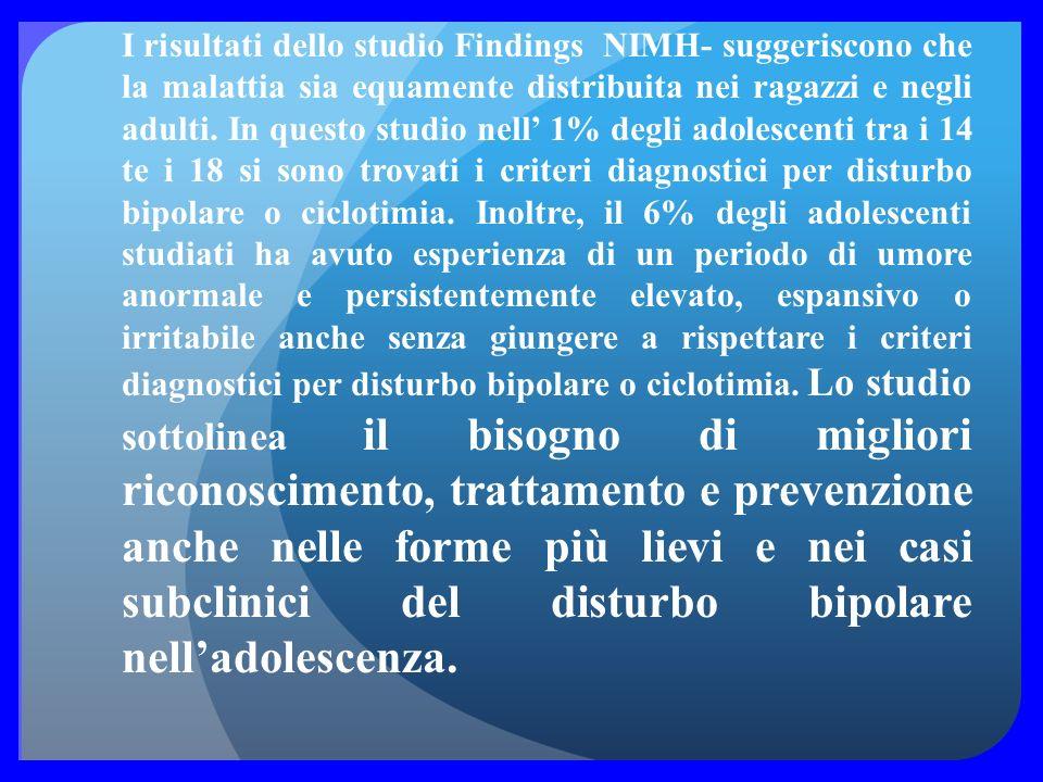 I risultati dello studio Findings NIMH- suggeriscono che la malattia sia equamente distribuita nei ragazzi e negli adulti.