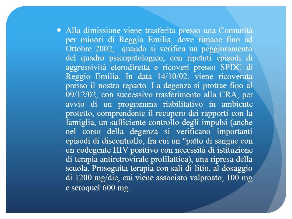 Alla dimissione viene trasferita presso una Comunità per minori di Reggio Emilia, dove rimane fino ad Ottobre 2002, quando si verifica un peggioramento del quadro psicopatologico, con ripetuti episodi di aggressività eterodiretta e ricoveri presso SPDC di Reggio Emilia.