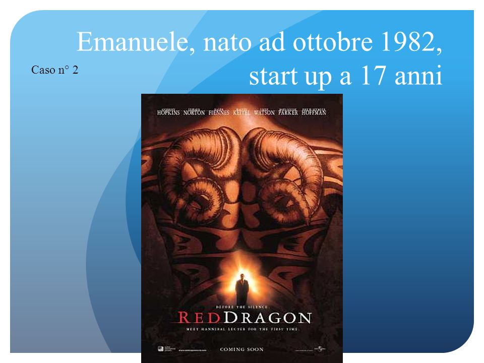 Emanuele, nato ad ottobre 1982, start up a 17 anni