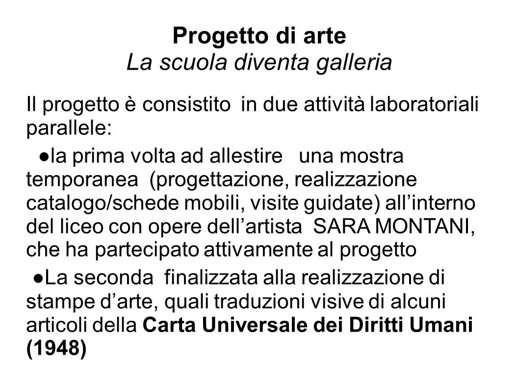 Progetto di arte La scuola diventa galleria