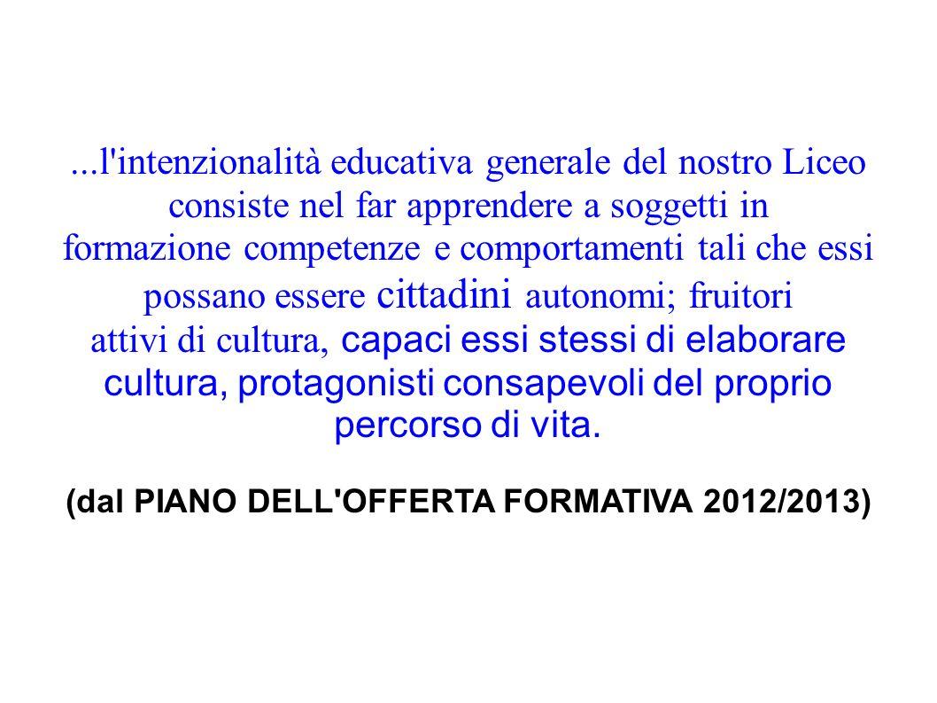 (dal PIANO DELL OFFERTA FORMATIVA 2012/2013)