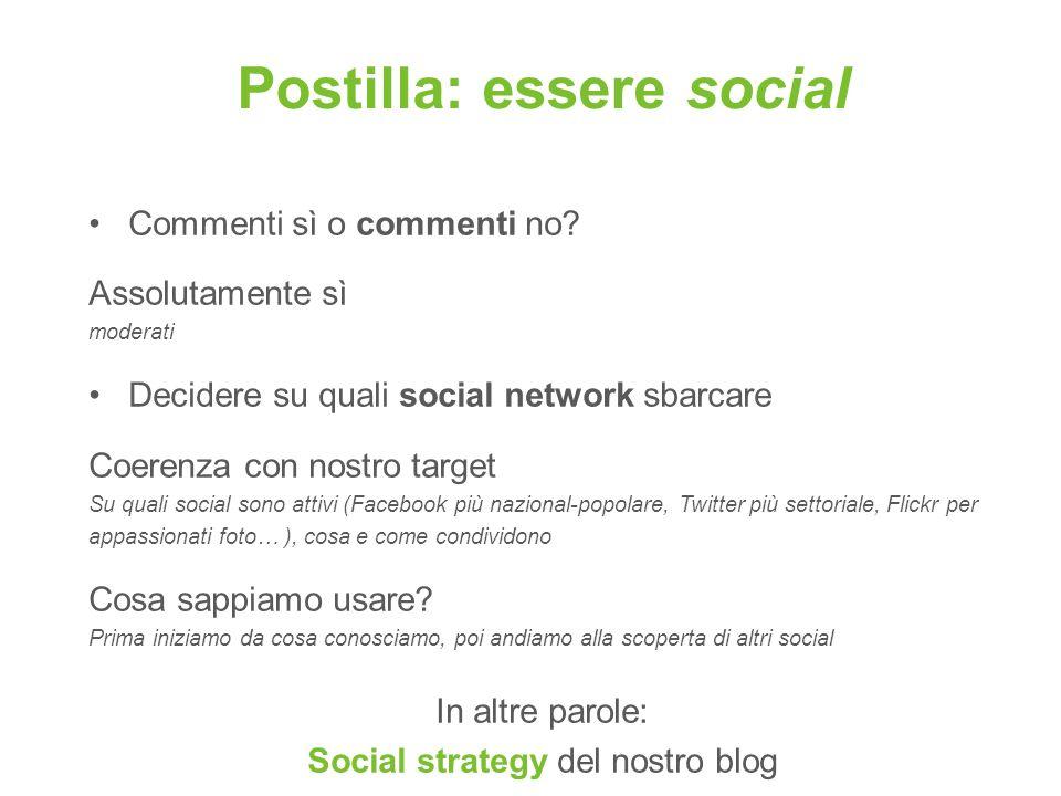 Postilla: essere social