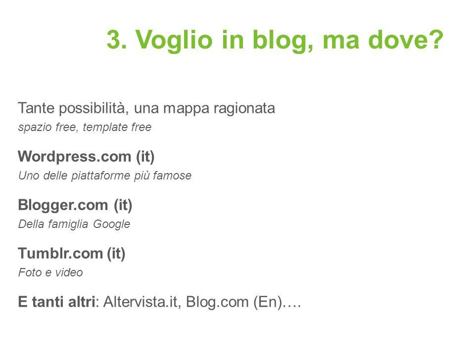 3. Voglio in blog, ma dove Tante possibilità, una mappa ragionata