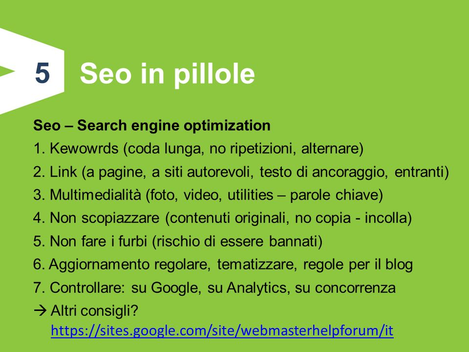 5 Seo in pillole Seo – Search engine optimization