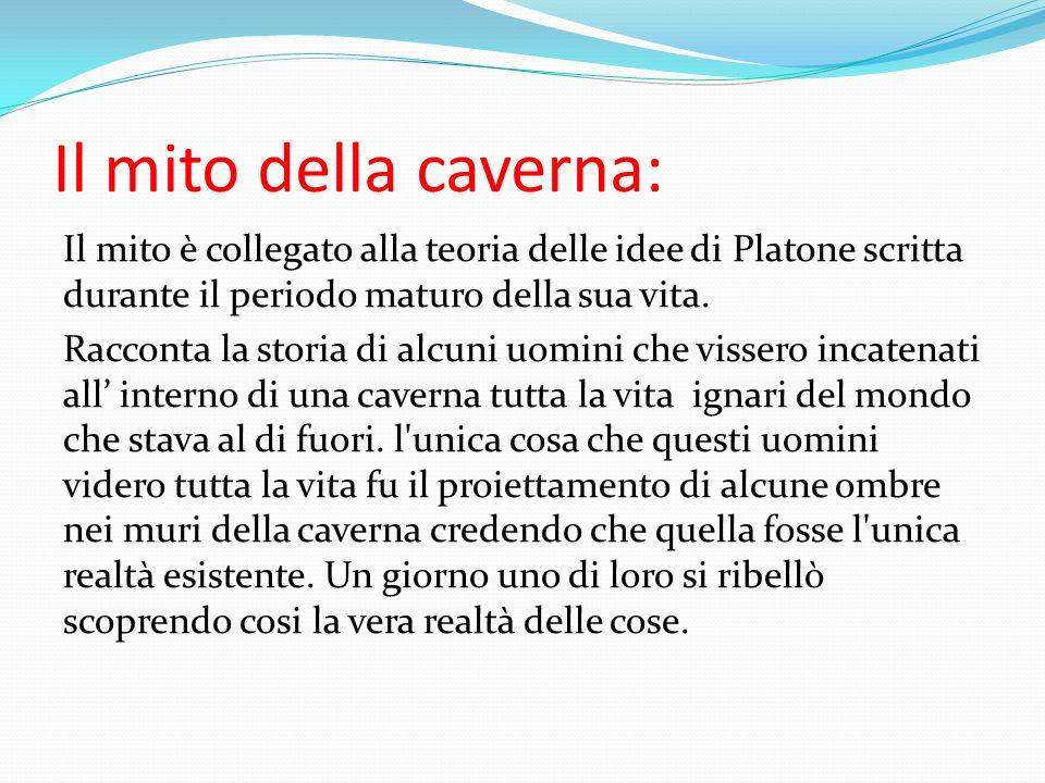 Il mito della caverna: Il mito è collegato alla teoria delle idee di Platone scritta durante il periodo maturo della sua vita.