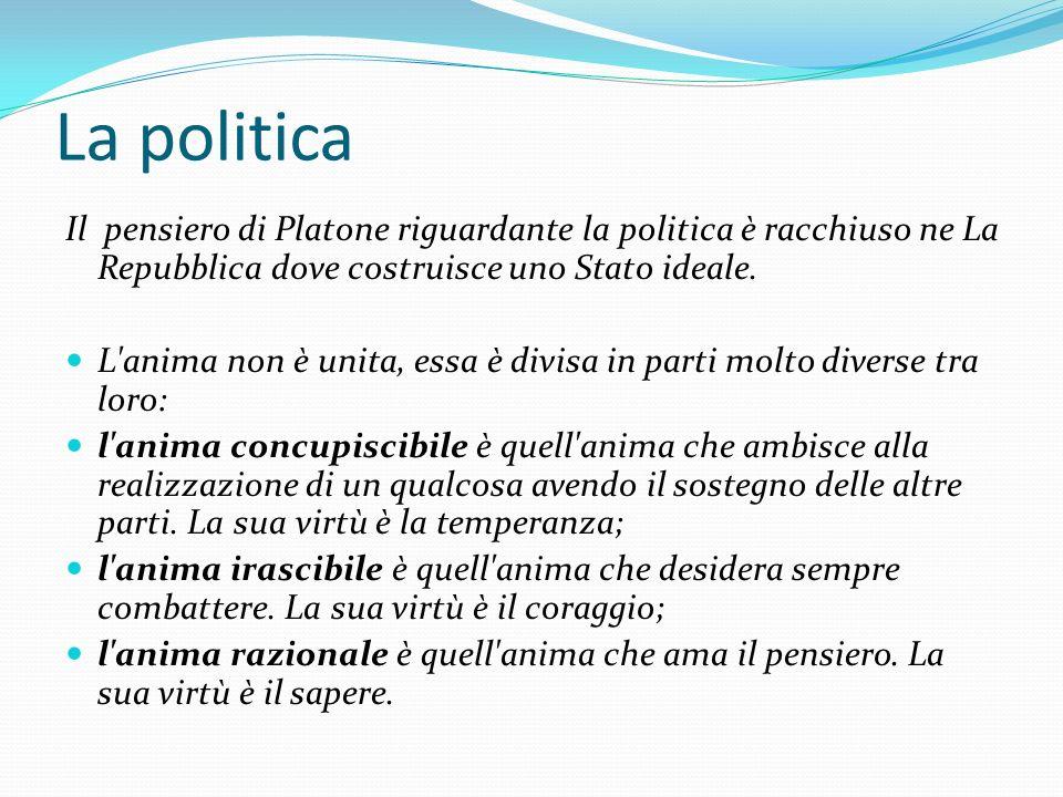 La politica Il pensiero di Platone riguardante la politica è racchiuso ne La Repubblica dove costruisce uno Stato ideale.