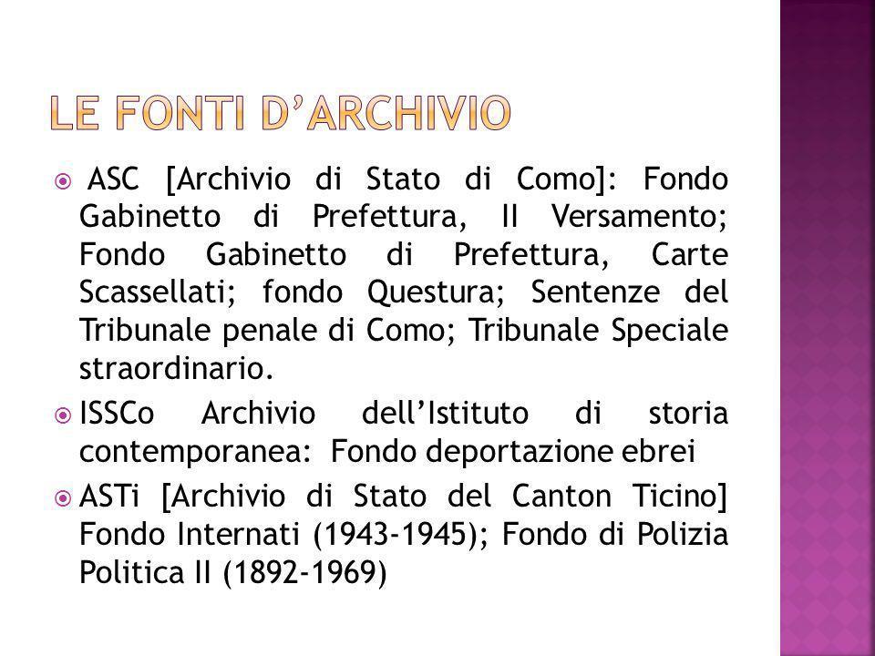 Le fonti d'Archivio