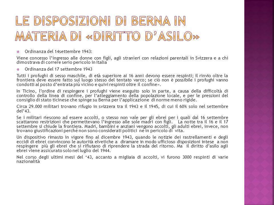 Le disposizioni di Berna in materia di «diritto d'asilo»
