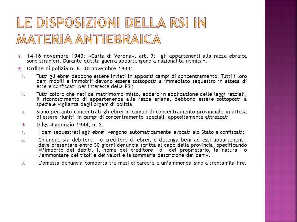 Le disposizioni della RSI in materia antiebraica