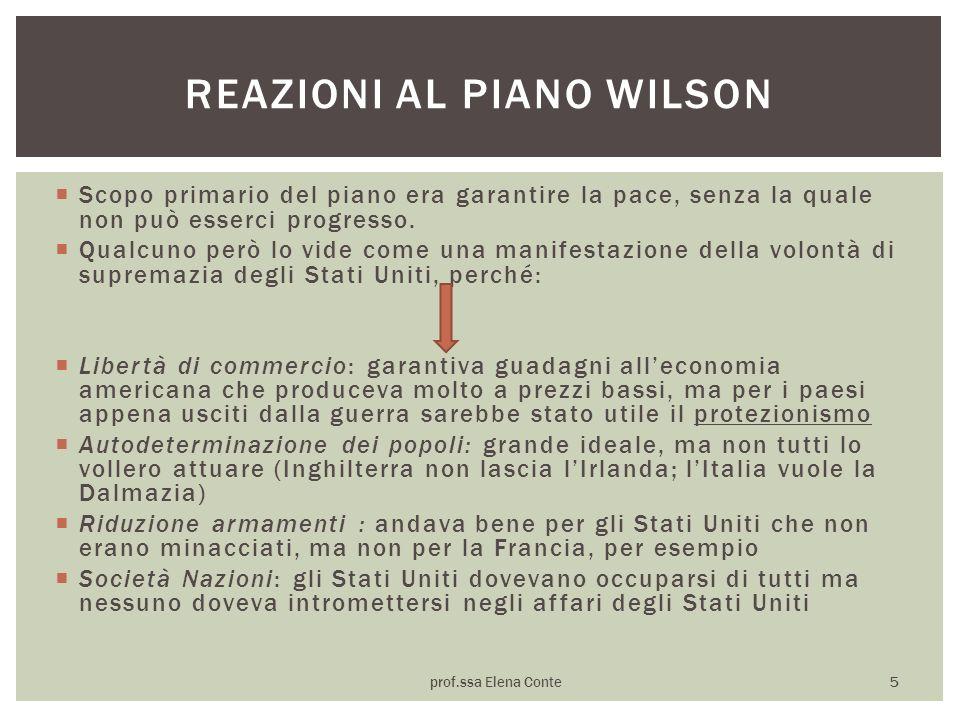 Reazioni al piano wilson