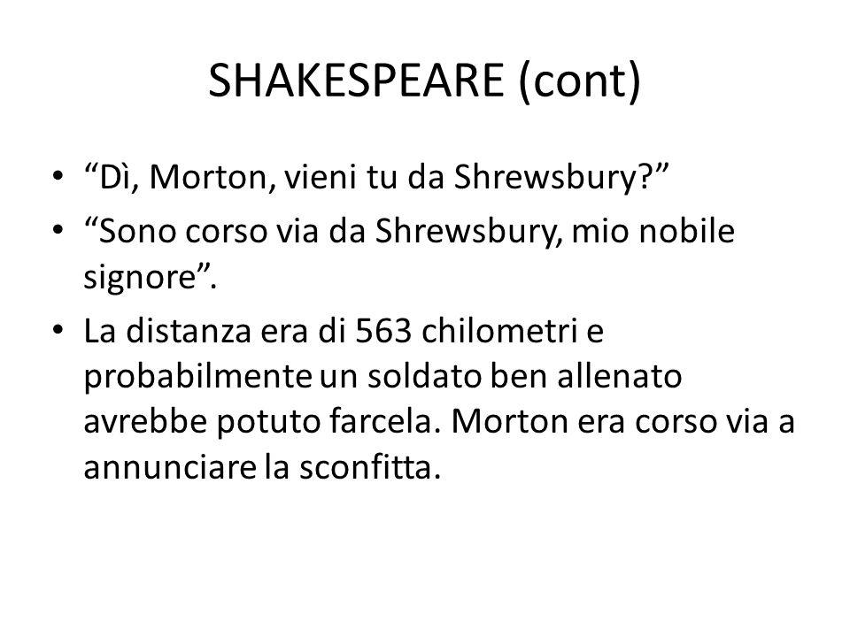 SHAKESPEARE (cont) Dì, Morton, vieni tu da Shrewsbury