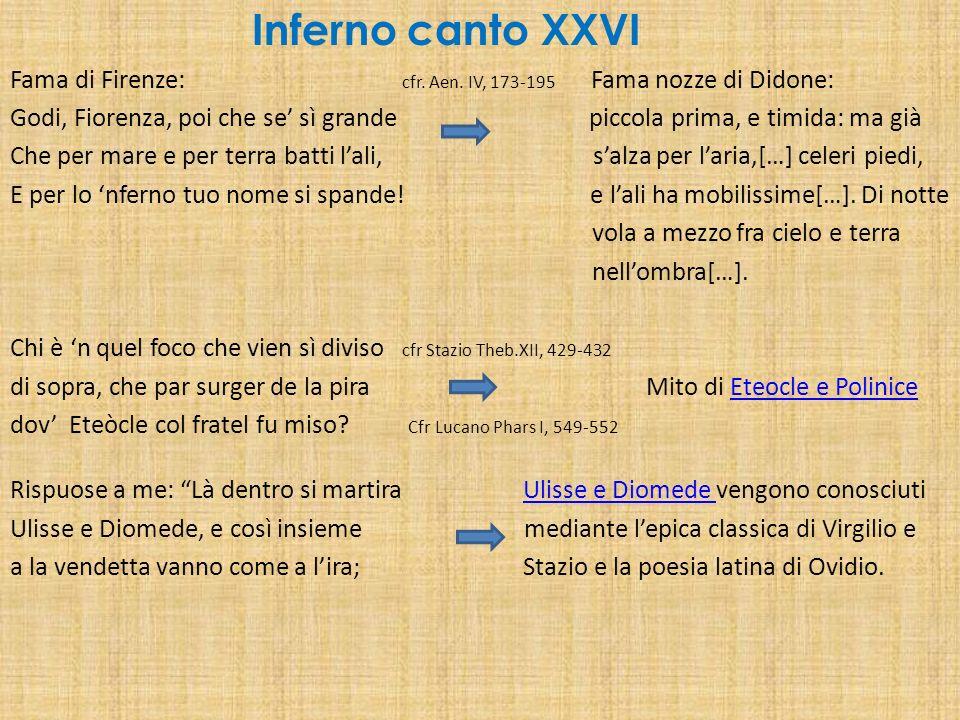 Inferno canto XXVI Fama di Firenze: cfr. Aen. IV, 173-195 Fama nozze di Didone: