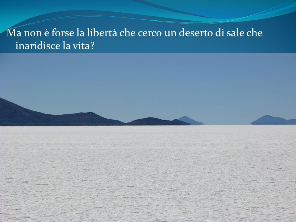 Ma non è forse la libertà che cerco un deserto di sale che inaridisce la vita