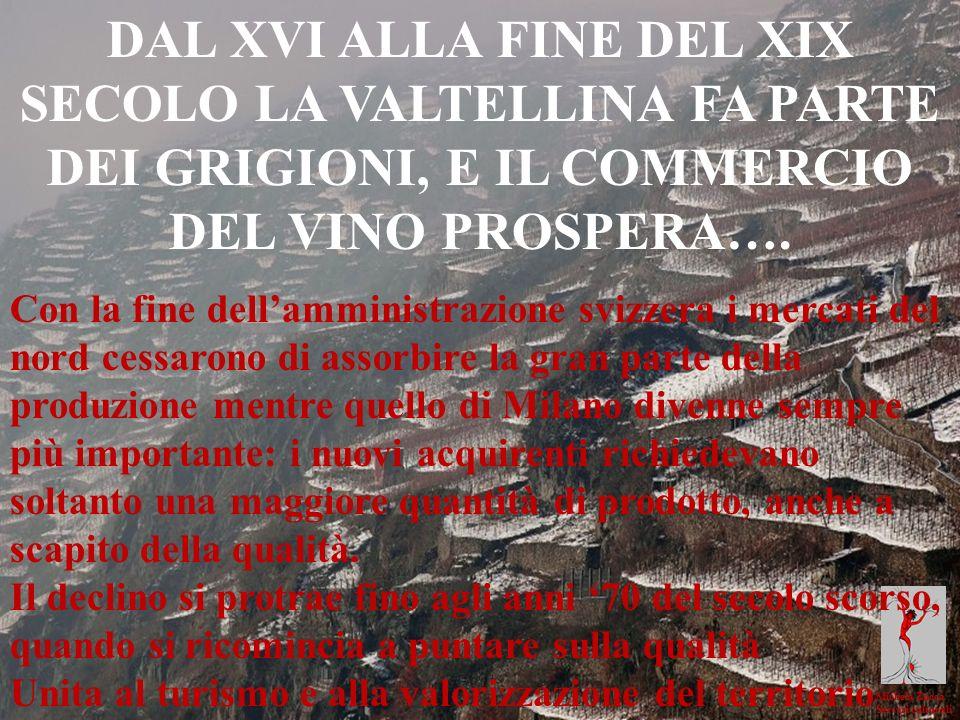 DAL XVI ALLA FINE DEL XIX SECOLO LA VALTELLINA FA PARTE DEI GRIGIONI, E IL COMMERCIO DEL VINO PROSPERA….