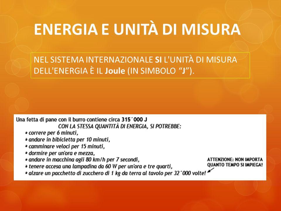 ENERGIA E UNITÀ DI MISURA