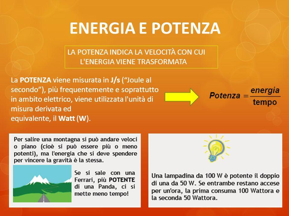 ENERGIA E POTENZA LA POTENZA INDICA LA VELOCITÀ CON CUI