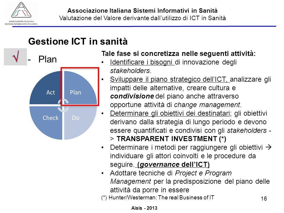 √ Gestione ICT in sanità Plan
