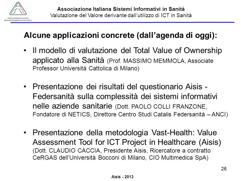 Alcune applicazioni concrete (dall'agenda di oggi):