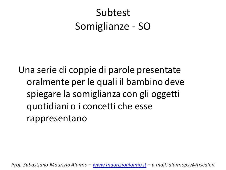 Subtest Somiglianze - SO