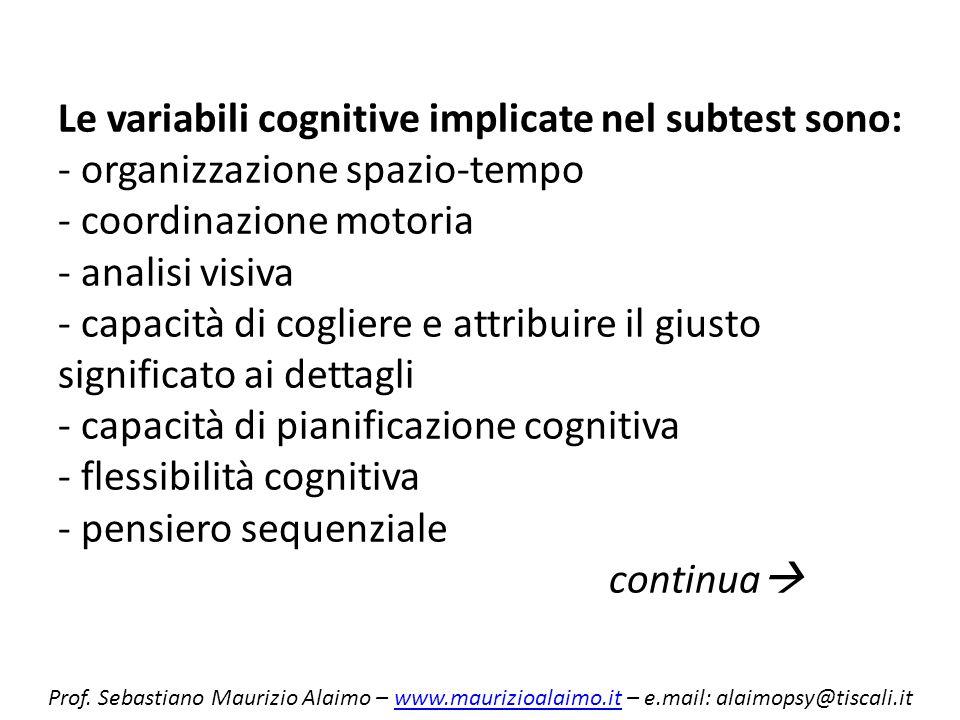 Le variabili cognitive implicate nel subtest sono: - organizzazione spazio-tempo - coordinazione motoria - analisi visiva - capacità di cogliere e attribuire il giusto significato ai dettagli - capacità di pianificazione cognitiva - flessibilità cognitiva - pensiero sequenziale continua
