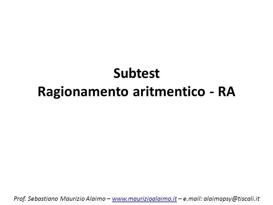 Subtest Ragionamento aritmentico - RA