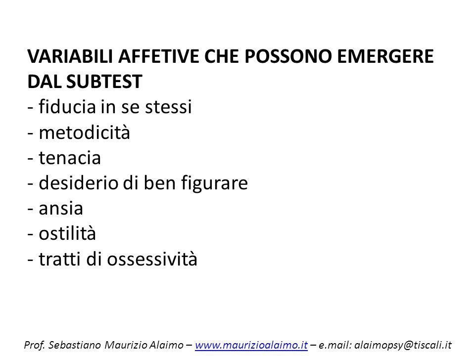 VARIABILI AFFETIVE CHE POSSONO EMERGERE DAL SUBTEST - fiducia in se stessi - metodicità - tenacia - desiderio di ben figurare - ansia - ostilità - tratti di ossessività