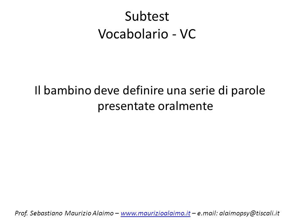 Subtest Vocabolario - VC