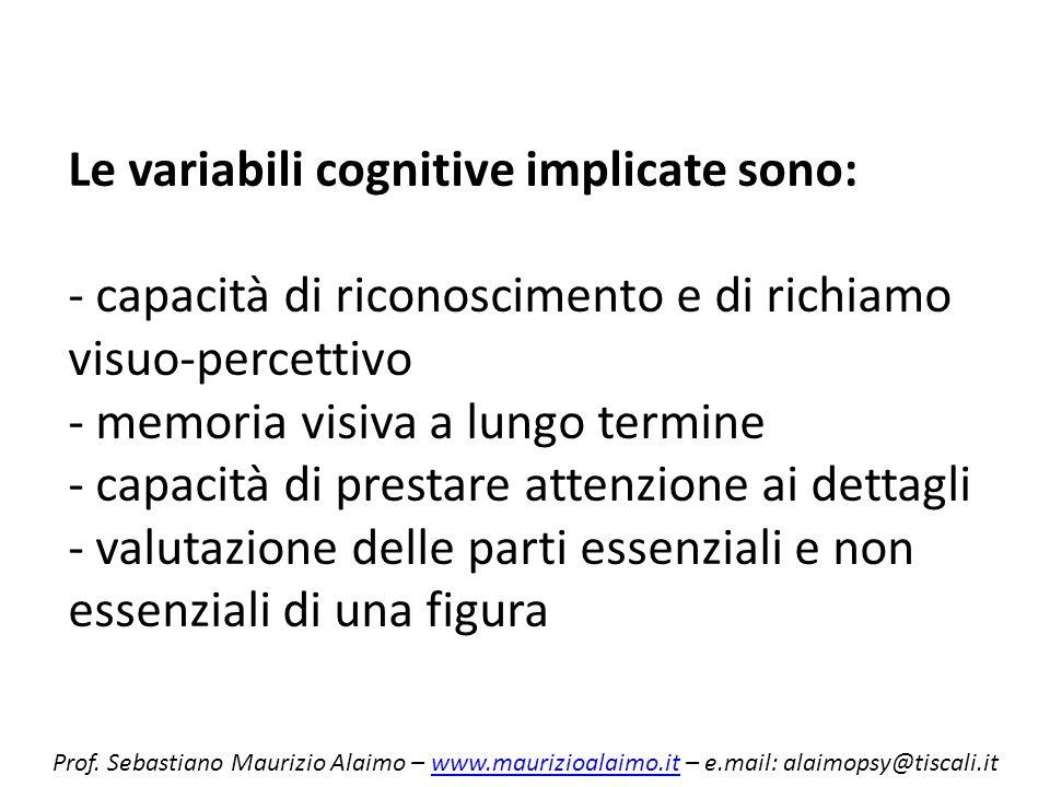 Le variabili cognitive implicate sono: - capacità di riconoscimento e di richiamo visuo-percettivo - memoria visiva a lungo termine - capacità di prestare attenzione ai dettagli - valutazione delle parti essenziali e non essenziali di una figura