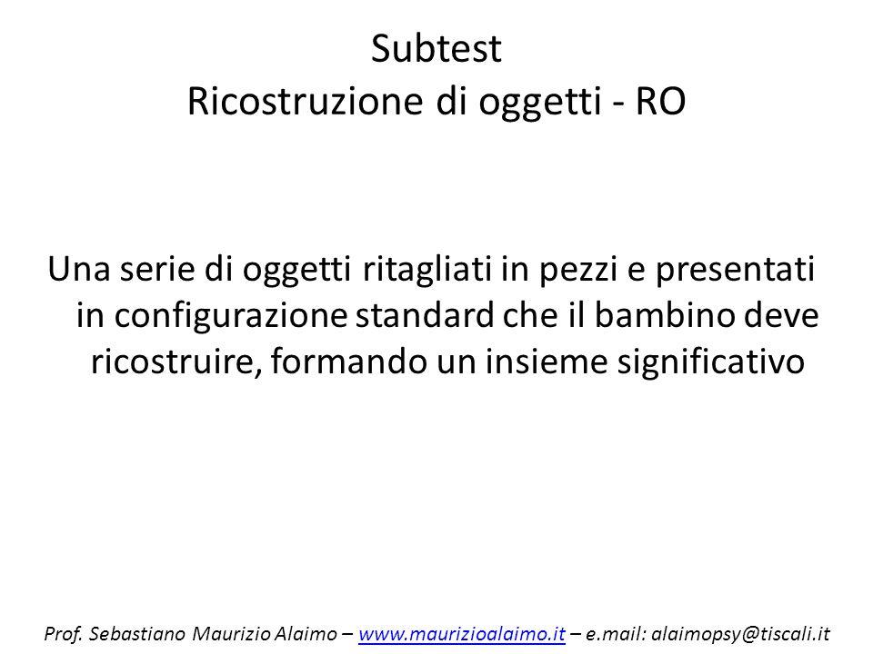 Subtest Ricostruzione di oggetti - RO