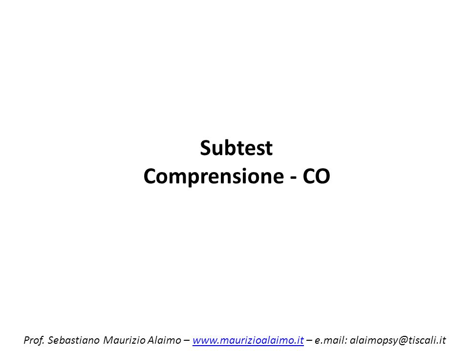 Subtest Comprensione - CO