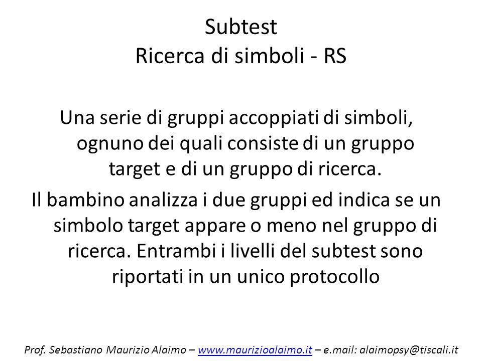 Subtest Ricerca di simboli - RS