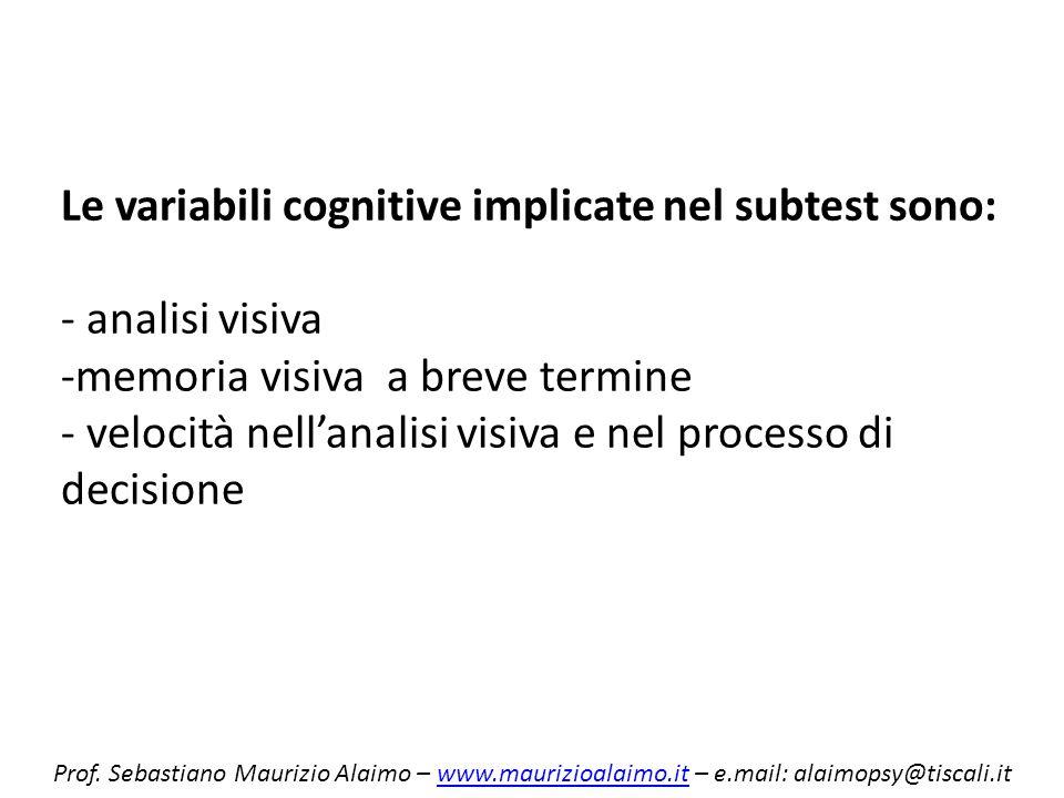 Le variabili cognitive implicate nel subtest sono: - analisi visiva -memoria visiva a breve termine - velocità nell'analisi visiva e nel processo di decisione