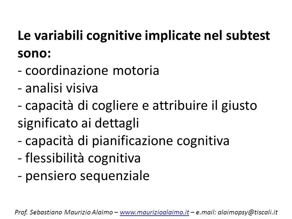 Le variabili cognitive implicate nel subtest sono: - coordinazione motoria - analisi visiva - capacità di cogliere e attribuire il giusto significato ai dettagli - capacità di pianificazione cognitiva - flessibilità cognitiva - pensiero sequenziale